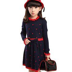 Girl's+Casual/Daily+Polka+Dot+DressCotton+Winter+/+Spring+/+Fall+Black+/+Blue+/+Red+–+NZD+$+27.90