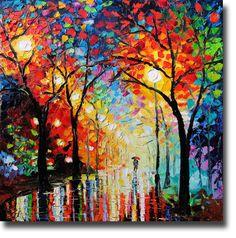 Oil Painting Original Oil Painting Rainy Night ART B. Sasik.