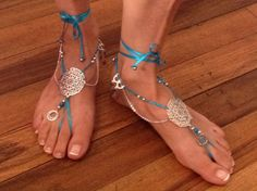 Barefoot sandals for Belly dancers. Pulseras para pies by JivanaCR