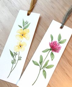 Bookmark Set - Watercolor Bookmark -original watercolor art -botanical painting illustration art - watercolor art - gift for friend Watercolor Bookmarks, Pen And Watercolor, Watercolor Flowers, Watercolor Paintings, Watercolor Artists, Watercolor Portraits, Watercolor Landscape, Creative Bookmarks, Cute Bookmarks
