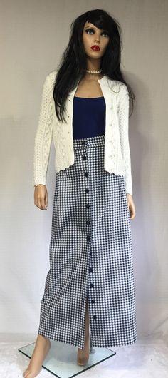 Vintage 70's Blue Checkered Maxi Skirt  by GypsysClosetVintage