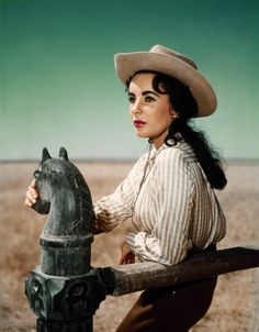 Elizabeth Taylor on the set of of the 1956 movie 'Giant'. #vintage #1950s #actresses #cowgirls #westernwear
