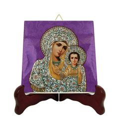 Virgin Mary icon on tile - Mother of God - Theotokos - handmade - two sizes - religious icons - Mother Mary icon orthodox russian - holy art Catholic Gifts, Catholic Prayers, Catholic Art, Religious Gifts, Religious Icons, Religious Art, Tile Murals, Tile Art, Russian Icons