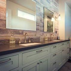 #bathroom #bathroomremodel #bathroomdesign #vanity #bluevanity #doublesink #doublesinkvanity #tile #woodtile #fauxwood #gray #grey #graycounter #customvanity #custombathroom