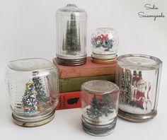 DIY waterless snowglobe Christmas decor using vintage jars by Sadie Seasongoods / www.sadieseasongoods.com