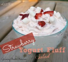 Strawberry Yogourt Fluff Salad http://www.grinningcheektocheek.com/strawberry-yogurt-fluff-salad-dariymom