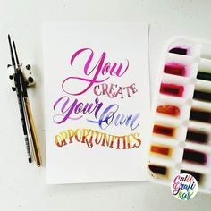 You create your own opportunities #calligrafikas #grafikas #dreweuropeo #moderncalligraphy #lettering #handlettering #brushlettering #watercolor Paper: Canson 200gsm Paint: Dr. Ph Martin's radiant concentrated watercolors & Walnut Ink Brush: Silver Brush Black Velvet round no 2 & Escoda round no 2 by calligrafikas
