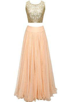 Peach sheer embroidered cape lehenga set with sequins crop top available only at Pernia's Pop Up Shop.