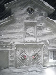snow covered barn