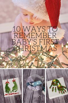 10 Ways to Remember Baby's First Christmas is part of First Baby crafts - Remember and preserve your baby's first Christmas with these 10 easy memory keeping ideas including baby ornaments, pictures, hand prints and Baby Christmas Photos, Babys 1st Christmas, Family Christmas, Christmas Holidays, Baby Christmas Activities, Christmas Gift From Baby, 8 Month Old Baby Activities, Christmas Traditions Kids, Baby First Christmas Ornament