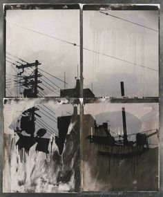 Robert Rauschenberg (American, Japanese Sky (from the Bleacher Series), Four unique bleached Polaroid Polapan prints, mounted to aluminum, x in. Robert Rauschenberg, Collages, Collage Art, Image Collage, Jasper Johns, Face Off, Andy Warhol, Modern Pop Art, Contemporary Art