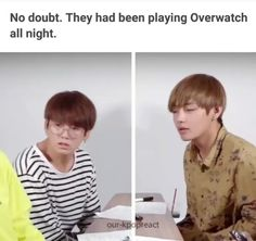 Jungkook and Taehyung playing Overwatch