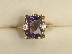 Vintage Sapphire Ring with Diamond Accents by ScotchStreetVintage