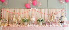 the overall look for this dessert table for this maileg rabbit themed party