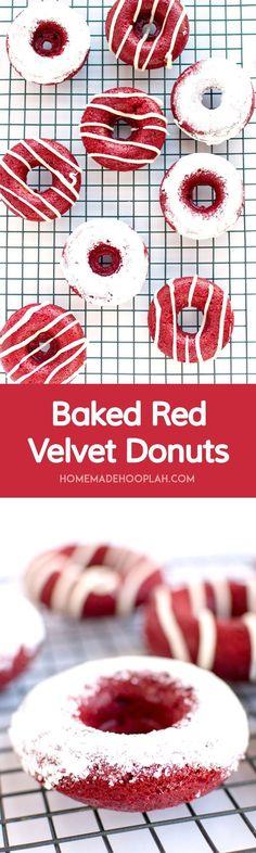 Baked Red Velvet Donuts! Super moist and spongy red velvet donuts that are baked, not fried. Need I say more? | HomemadeHooplah.com