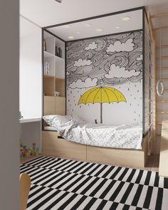 Los murales son una buena opción de renovación. #dormitoriosinfantiles #murales #unisex #descanso #estudio #juego