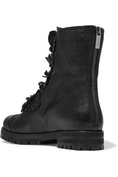 Jimmy Choo - Havana Embellished Appliquéd Textured-leather Boots - Black - IT