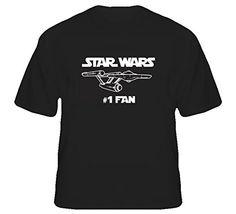 Star Wars Trek Number One Fan Funny Parody T Shirt L Black