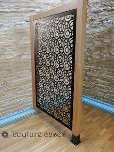 FARO CIRCLES laser cut fretwork panels in oak frame