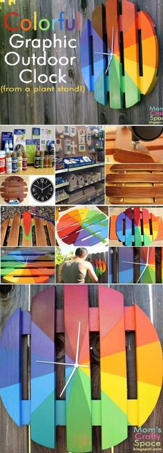 DIY : Colorful Graphic Outdoor Clock - How to make a BeautifulColorful Graphic Outdoor Clock By YourselfYou Should also see :Make a Mirror from Plastic SpoonHow To Make a Studded T-ShirtMake a Beautiful Embellished SweaterMake a Fan Curtain by