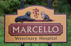This sign includes hand sculpted artwork and hand carved lettering, both painted and gilded with gold leaf. Hospital Signs, Office Signs, Dog Logo, Business Signs, Shop Signs, Animal Signs, Hand Carved, Carving, Lettering