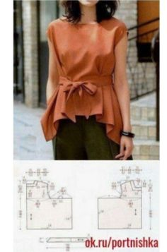 Sewing Blusas make it a bit longer, and in a fabric that drapes (rayon) - Sewing Dress, Dress Sewing Patterns, Blouse Patterns, Sewing Patterns Free, Clothing Patterns, Blouse Designs, Easy Patterns, Sewing Tutorials, Make Your Own Clothes