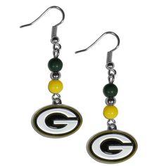Green Bay Packers Bead Dangle Earrings