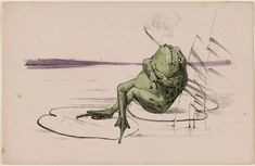 Frog Smoking on a Lilypad 1890 Theodorus van Hoytema, Dutch, 1863–1917 Dutch Lithograph printed in black, hand-colored with green and purple watercolor, on slightly pink-colored paper