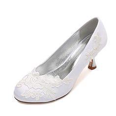 Dámské Svatební obuv Pohodlné Lodičky Satén Jaro Léto Svatební Šaty Party Saténové květiny Květiny Nízký podpatek Nízký tenký Vysoký