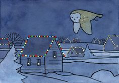 Flying Barn owl and Christmas lights illustration #christmas