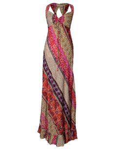 be827e210b1 Hippy Dress Bohemian Maxi Dress Colourful Panel Effect Long Summer Hippy  Dress Fairtrade by Folio Gothic