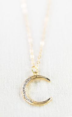 Ka Nui necklace gold crescent moon necklace by kealohajewelry