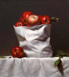 """Still Life with apples"" By Ning Lee, Chinese-born New York City-based Contemporary Artist oi on canvas http://www.ningleeart.com/... See More — with Violeta Hodzic, BuscArte Espacio de Arte and Chang Yee Soo"