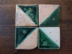 18世紀 緑釉薬カタランタイル4点 スペイン azulejo catalana
