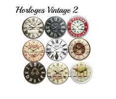 "50 images digitales pour cabochon ""Horloges Vintage"""