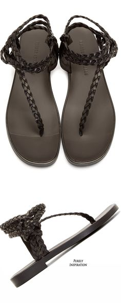 Haider Ackermann Men's Black Woven Leather Sandals | Purely Inspiration