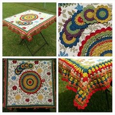 Beautiful #crochet patio set by Crochet Colored Glasses