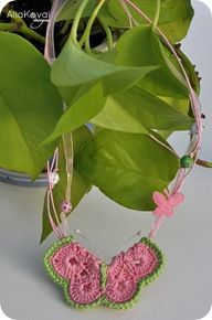 Buttefly Brooch, Necklace, or Plant Stake. Free Pattern from le papillon.