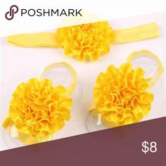 Golden yellow headband and barefoot sandal set New in packaging Shoes Sandals & Flip Flops