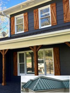 Diy shutters, house shutters, house siding, exterior wood shutters, homes w Exterior Paint Colors For House, Paint Colors For Home, Navy House Exterior, Exterior Gris, Cafe Exterior, Exterior Signage, Black Exterior, Paint Colours, Exterior Lighting