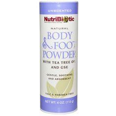 NUTRIBIOTIC Natural Body & Foot Powder - talco natural, sem talco nem perfume. Contém óleo de malaleuca e extrato de semente de uva. Indicado para tratar peles alérgicas, irritações, frieiras e higiene intima feminina. Vende online, farmácias dos EUA. Preço Médio: US$6. #cosmeticdetox #talco #nutribiotics #bodypowder #nontoxic #crueltyfree