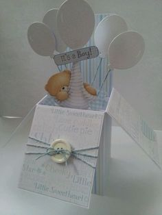 Baby boy pop up box card (image only) Pop Up Box Cards, 3d Cards, Paper Cards, Cute Cards, Card Boxes, Baby Boy Cards, New Baby Cards, Baby Shower Cards, Tarjetas Stampin Up