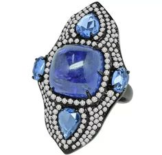Sutra tanzanite and sapphire shield ring #brittspick