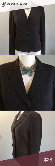 "Tahari Black Blazer In good condition, this jacket is lined. It has a subtle dot pattern embedded in the fabric. 98% polyester /2% rayon. Measures bust 39"", sleeve length 24.5"", length of jacket 24"", bottom of pit to pit in back 40."" TAHARI Arthur S. Levine  Jackets & Coats Blazers"