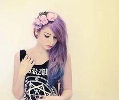 Pretty grunge with purple hair Style Pastel, Pastel Goth Fashion, Hipster Fashion, Heart Hair, Punk, Coloured Hair, Dye My Hair, Rainbow Hair, Purple Hair