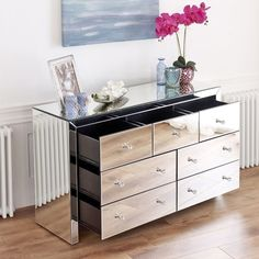 Mirrored Chest Of Drawers Side Board Contemporary Silver Glass Bedroom  Furniture