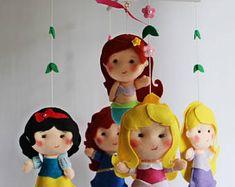 RTS baby girl mobile nursery decor baby shower mobile felt mobile Princess doll princesses Fairy Ariel Rapunzel Merida Aurora Snow White 3