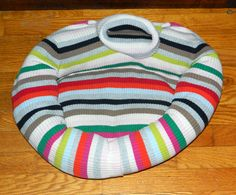 CAT Bed DOG Bed Pet BED Gift Handmade Upcycled Sweater CrabbyCats Crabby Cats 16 Multi-Color Ribbed Stripes - pinned by pin4etsy.com