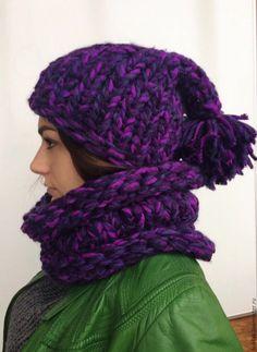 Купить Шапка и снуд ФИОЛЕТОВОЕ ПЛАМЯ - шапка вязаная, шапка женская, комплект шапка и снуд