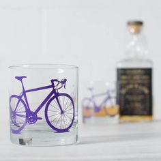 BICYCLE ROCKS GLASSES screen printed rocks/ old fashioned by vital (Home & Living, Kitchen & Dining, Drink & Barware, glass, cup, tumbler, vital, screenprint, pint glass, screen print, bicycle glass, glassware, grass green, emerald, leaf green, green beer)